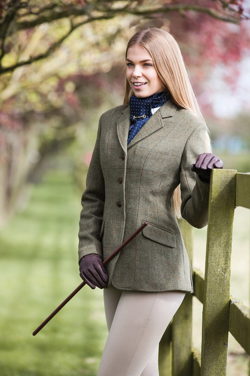 Equetech Claydon Hacking Jacket Ladies Green Tweed